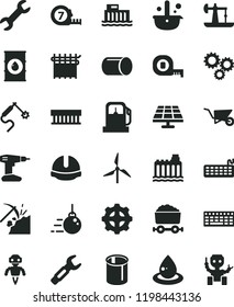 solid black flat icon set big core vector, building trolley, drill, measuring tape, long meashuring, construction helmet, solar panel, oil derrick, coal mining, gas station, windmill, hydroelectric