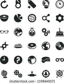 solid black flat icon set sign of the planet vector, clockwise, add label, question, gears, cogwheel, wall clock, CD, cake, cheese, pizza, onion, with a hole, kiwi, round flask, connections, watch