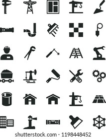 solid black flat icon set house vector, crane, workman, building trowel, window, small tools, adjustable wrench, new roller, ladder, siphon, construction level, city block, tile, plummet, spatula