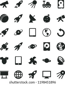 solid black flat icon set monitor vector, counterclockwise, t short, bath ball, earth, artificial satellite, planet, billboard, rocket, space, tablet pc, hdd, telescope, antenna, saturn, lunar rover