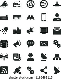 solid black flat icon set monitor window vector, keyboard, horn, rss feed, received letter, speech, thumb up, smartphone, big data, artificial satellite, gears, antenna, connection, scheme, operator