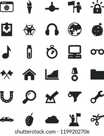 solid black flat icon set download archive data vector, house, tasty mulberry, planet, water filter, computer, headphones, browser, folder, connect, note, repair, cloud, encrypting, test tube, zoom