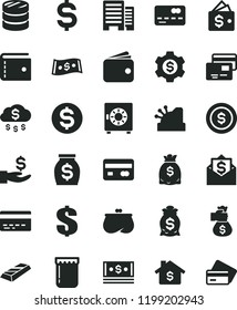 solid black flat icon set bank card vector, purse, dollar, buildings, strongbox, cards, jam, reverse side of a, front the, column coins, denomination, get wage, wallet, money, dollars, cash, cashbox
