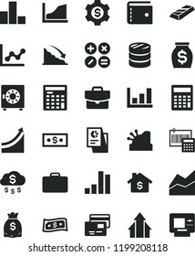 solid black flat icon set purse vector, calculator, bar chart, line, graph, calculation, suitcase, strongbox, cards, math actions, column of coins, recession, money, dollars, statistical research