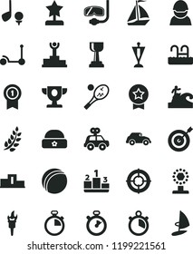solid black flat icon set stopwatch vector, bath ball, motor vehicle present, Kick scooter, warm hat, pedestal, racer, retro car, flame torch, laurel branch, winner podium, prize, cup, gold, pennant
