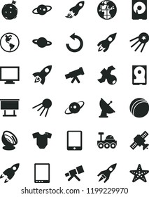 solid black flat icon set monitor vector, counterclockwise, t short, bath ball, artificial satellite, planet, Earth, billboard, rocket, space, tablet pc, hdd, telescope, antenna, saturn, lunar rover