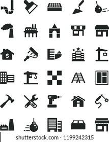 solid black flat icon set house vector, box of bricks, crane, big core, building trowel, window, small tools, cordless drill, paint roller, ladder, siphon, buildings, city block, tile, brick, kiosk