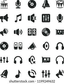 solid black flat icon set bell vector, desktop microphone, horn, loudspeaker, silent mode, drumroll, drum, headphones, music, CD, regulator, volume, no sound, phone call, megaphone, pc card, speaker