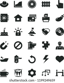 solid black flat icon set heart symbol vector, lightning, prohibition, hat, counterclockwise, camera roll, toys over the cot, children's bathroom, cake, drum, Puzzle, dwelling, builder, cogwheel, CD