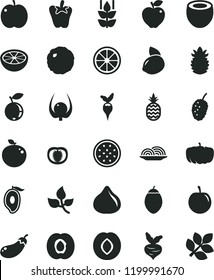 solid black flat icon set onion vector, cabbage, peper, a pineapple, mint, apple, half apricot, red, plum, fig, blueberry, tasty mulberry, of mango, yellow lemon, juicy, passion fruit, tamarillo