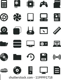 solid black flat icon set laptop vector, monitor, CD, screen, copy, onion, calculator, computer, tablet pc, fan, power supply, tower, motherboard, cpu, memory, web camera, router, network, browser