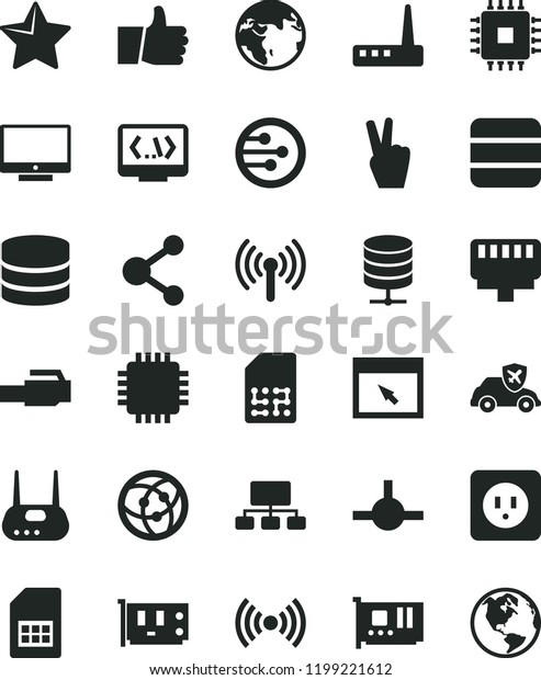 Solid Black Flat Icon Set Power Stock Vector (Royalty Free