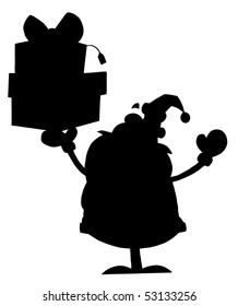 Solid Black Silhouette Of Santa Holding Presents