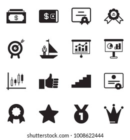 Solid black vector icon set - cash vector, wallet, certificate, medal, motivation, manager yacht, presentation, Japanese candles, finger up, stairways, star, princess crown