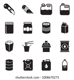 Solid black vector icon set - cutter vector, canister, jam, canned food, milk, pop corn, Chinese, vote, barrel, water