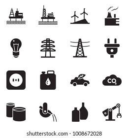 Solid black vector icon set - offshore oil platform vector, windmill, thermal power plant, bulb, line pillar, plug, socket, canister, eco car, co2, pipes, metallurgy, glass bottle, manufacture robot