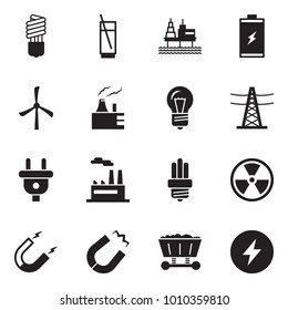 Solid black vector icon set - bulb vector, soda, offshore oil platform, battery, windmill, thermal power plant, line pillar, plug, factory, nuclear, magnet, mine trolley
