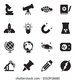 Solid black vector icon set - microscope vector, telescope, neural network, logbook, rocket, bulb, magnet, nuclear, globe, saturn, measurement, manufacture robot, drawing pin, pencil, power