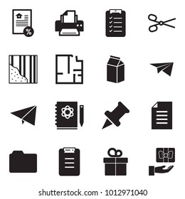 Solid black vector icon set - mortgage vector, printer, check list, scissors, wallpaper, plan, milk, paper plane, logbook, drawing pin, document, folder, clipboard, gift