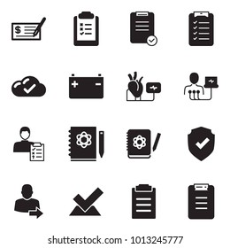 Solid black vector icon set - check vector, clipboard list, cloud, battery, heart diagnostic, diagnosis, logbook, shield, user login