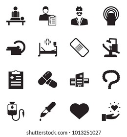 Solid black vector icon set - massage vector, diagnosis, doctor, tomography, hospital bed, medical patch, dental office, pills, building, intestines, drop counter, dropper, heart, gift