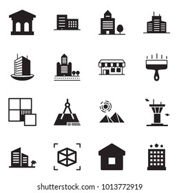 Solid black vector icon set - bank vector, office building, wide putty knife, tile, draw, pyramid, airport tower, hotel, 3d cube, home