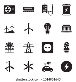 Solid black vector icon set - air condition vector, welding machine, battery, windmill, bulb, hydro power plant, line pillar, socket, electric car