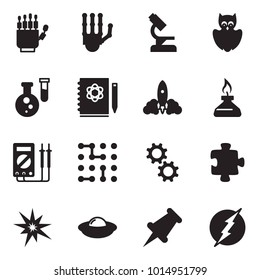 Solid black vector icon set - robot hand vector, microscope, owl, flask, logbook, rocket, spirit lamp, measurement, circuit, gear, puzzle, bang, ufo, drawing pin, power
