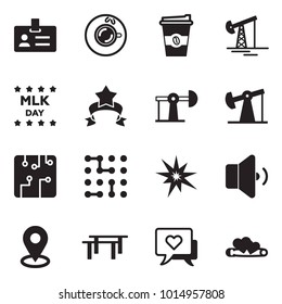 Solid black vector icon set - badge vector, coffee, oil jack, day of Martin Luther King, star ribbon, circuit, bang, low volume, map pin, beams, heart message, hearts