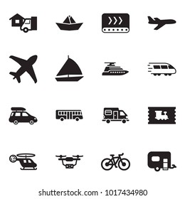 Solid black vector icon set - home delivery vector, paper ship, conveyor, plane, sail boat, yacht, train, car baggage, bus, camper, ticket, medical helicopter, drone, bike, trailer