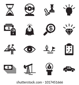 Solid black vector icon set - sand clock vector, web camera, queen pawn, idea, safe money, super manager, search, diamond, success, advisor, chasm, strategy, cash, oil jack, speaker, unmanned car
