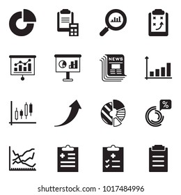 Solid black vector icon set - circle chart vector, clipboard calculator, finance monitoring, strategy, presentation, newspaper, growth, Japanese candles, arrow, line, diagnosis