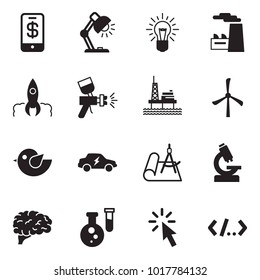 Solid black vector icon set - phone wallet vector, table lamp, bulb, factory, rocket, airbrush, offshore oil platform, windmill, bird, electric car, draw, microscope, brain, flask, cursor, tag code