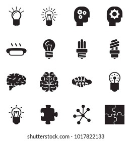 Solid black vector icon set - bulb vector, gear head, hot dog, brain, neural network, puzzle