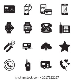 Solid black vector icon set - credit card vector, nfc mobile, pay, watch, phone, pliers, camp trailer, upload cloud, star, horn, walkie talkie, love