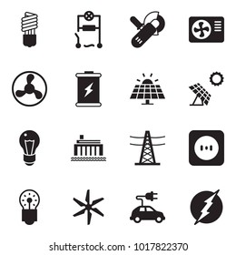 Solid black vector icon set - bulb vector, wiring, angle grinder machine, air condition, fan, battery, sun panel, hydro power plant, line pillar, socket, windmill, electric car