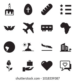 Solid black vector icon set - candle cake vector, easter egg, bread, star ribbon, bat, plane, passenger wagon, africa, south america, island, arrival, hotel, rose, gift, heart, message