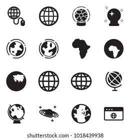 Solid black vector icon set - globe mouse vector, magic ball, earth, africa, asia, saturn, browser