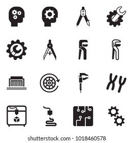 Solid black vector icon set - gear head vector, drawing compass, wrench, adjustable, hydro power plant, calipers, chromosome, 3d printer, circuit