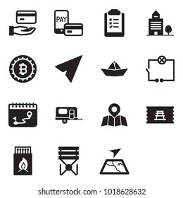 Solid black vector icon set - credit vector, mobile pay, clipboard list, office building, bitcoin sign, paper plane, ship, wiring, calendar route, camp trailer, map pin, train ticket, matches, stool