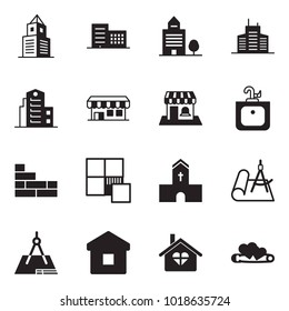 Solid black vector icon set - office building vector, sink, brick wall, tile, church, draw, home, love, pin hearts