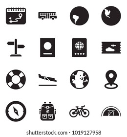 Solid black vector icon set - calendar route vector, bus, south america, north, signpost, passport, plane ticket, lifebuoy, arrival, globe, map pin, orienteering, bag pack, bike, tent