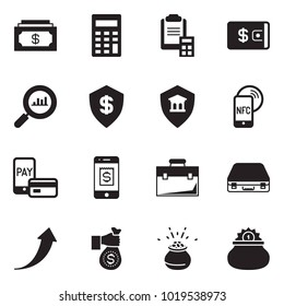 Solid black vector icon set - cash vector, calculator, clipboard, wallet, finance monitoring, dollar shield, security bank, nfc mobile, pay, case, growth arrow, investment, leprechaun pot