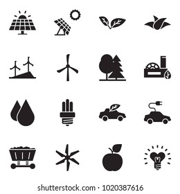 Solid black vector icon set - sun panel vector, leaf, windmill, forest, eco factory, water drop, bulb, car, electric, mine trolley, apple, heart