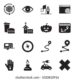 Solid black vector icon set - around the world vector, advisor, success, setup page, fast food, church, pumpkin, calendar route, camp trailer, compass, injury, spirit lamp, electric car
