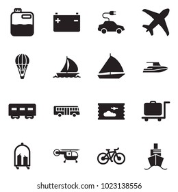 Solid black vector icon set - canister vector, battery, electric car, plane, air balloon, sail boat, yacht, passenger wagon, bus, ticket, luggage trolley, medical helicopter, bike, cruiser