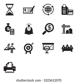 Solid black vector icon set - sand clock vector, check, around the world, card reader, money bag calculator, super manager, search, construction, success, motivation, cup presentation, meeting
