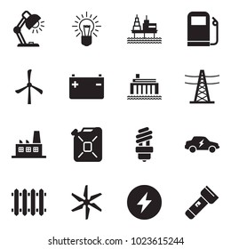 Solid black vector icon set - table lamp vector, bulb, offshore oil platform, gas station, windmill, battery, hydro power plant, line pillar, factory, canister, electric car, radiator, torch