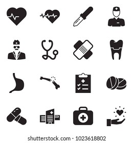 Solid black vector icon set - heart pulse vector, dropper, doctor, stethoscope, medical patch, implant, stomach, broken bone, diagnosis, pills, hospital building, first aid kit, gift