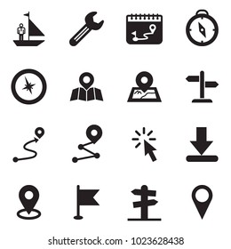 Solid black vector icon set - manager yacht vector, wrench, calendar route, compass, map pin, signpost, cursor, download, flag, street sign